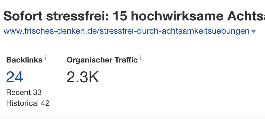 Beispiel: organischer Traffic und Backlinks
