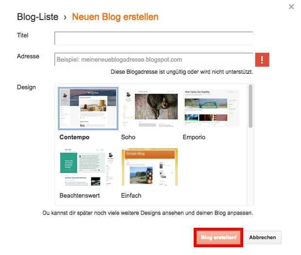 Blog erstellen bei Blogger
