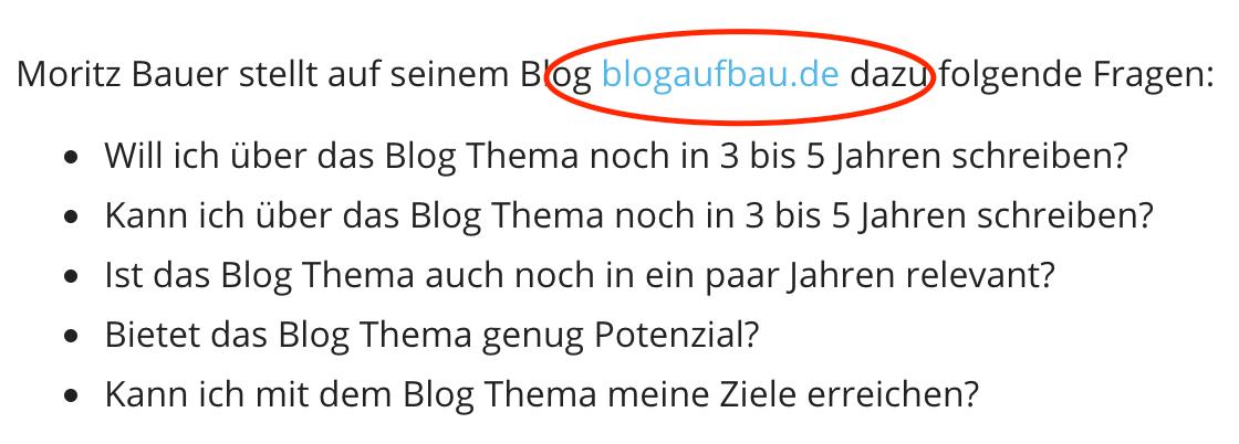 Beispiel redaktioneller Backlink