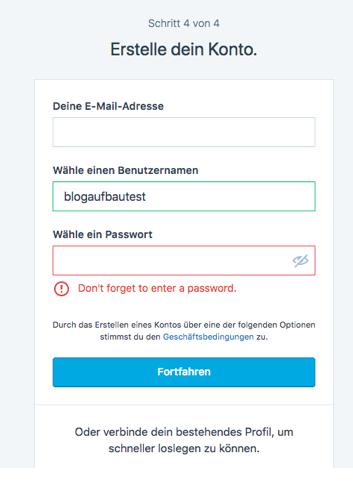 Wordpress Anmeldung Schritt 4